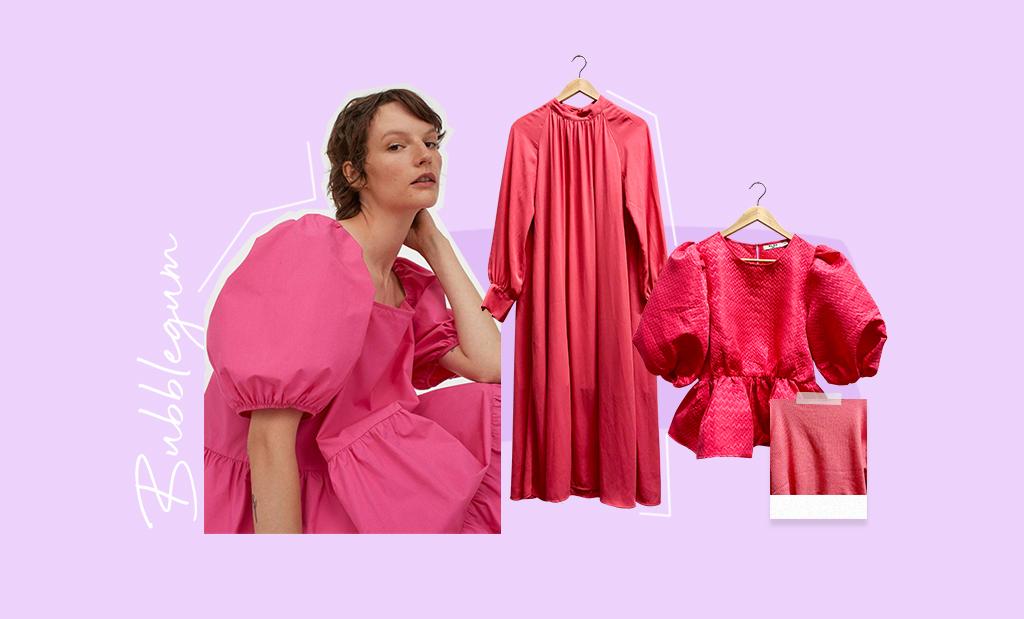 Collage till vårens och sommarens modetrender 2021. Bubblegum dresses and skirts.