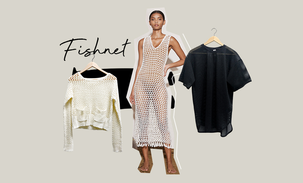 Kläder i fisknät, en klänning och två tröjor. Modell i fisknätsklänning från Marysia.