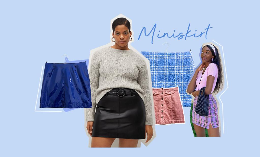 Minikjolar i olika färger och mönster. Modell från Mango och Emmanuellek. Modetrend våren och sommaren 2021.Kollage.